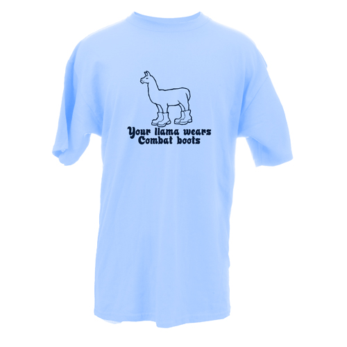 Beyond The Pond Adult Your Llama Wears Combat Boots Short Sleeve T-Shirt