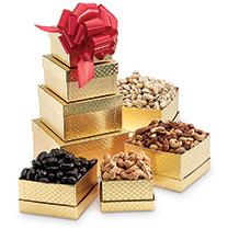 SEASONAL - CHRISTMAS Gold Nut Tower