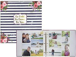 MBI Floral Navy Stripe 3-Ring 4x6 Bi-Directional Photo Album