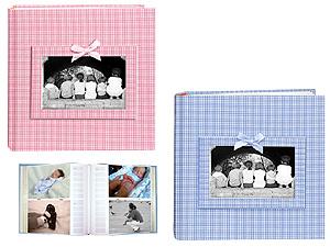 Pioneer DA-200GFRB Gingham Fabric Baby Photo Album