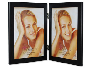 Lawrence Black Hinged Metal Double Frame For 5x7