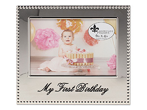 Lawrence 4x6 My First Birthday Beaded Silver Frame