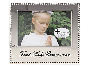 Lawrence 4x6 First Holy Communion Beaded Silver Frame