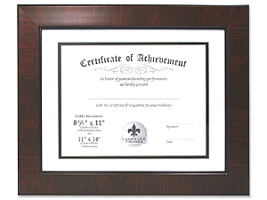 Lawrence 11x14 Bevel Mat Mahogany Certificate Frame For 85x11