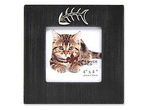 Lawrence 4x4 Square Cat Frame w/Fish Bone Ornament