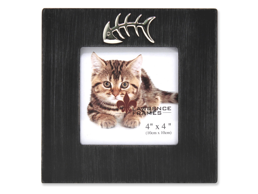 Lawrence 4x4 Black Cat Frame with Fish Bone Ornament
