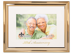 Lawrence 50th Anniversary 4x6 Gold Metal Picture Frame