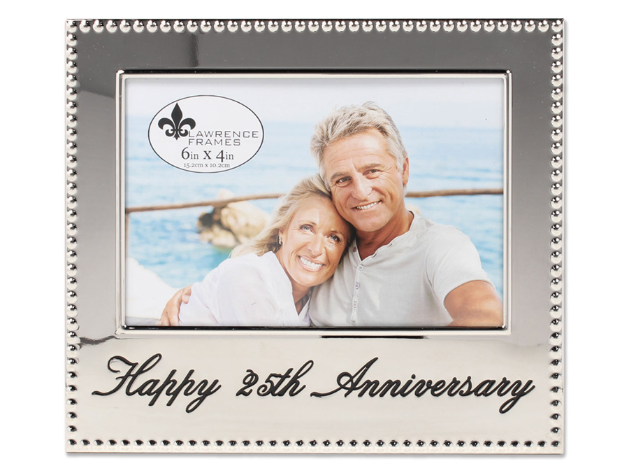 Lawrence 4x6 Happy 25th Anniversary Beaded Silver Frame