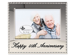 Lawrence 4x6 Happy 50th Anniversary Beaded Silver Frame