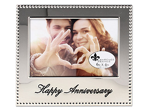 Lawrence 4x6 Happy Anniversary Beaded Silver Frame