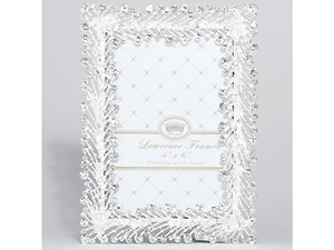 Lawrence 4x6 Jasmond Silver Metal & Crystal Spray Frame