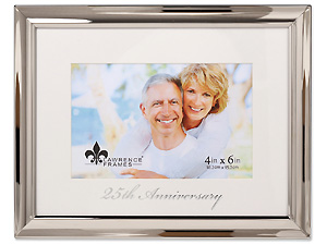 Lawrence 25th Anniversary 4x6 Silver Metal Picture Frame