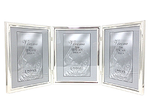 Lawrence 8x10 Beaded Silver Plated Triple Picture Frame