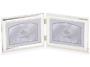 Lawrence 7x5 Beaded Silver Plated Double Picture Frame - Horizontal