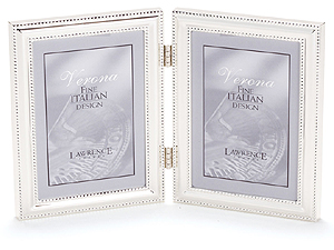 Lawrence 5x7 Beaded Silver Plated Double Picture Frame