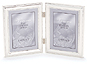 Lawrence 4x5 Beaded Silver Plated Double Picture Frame