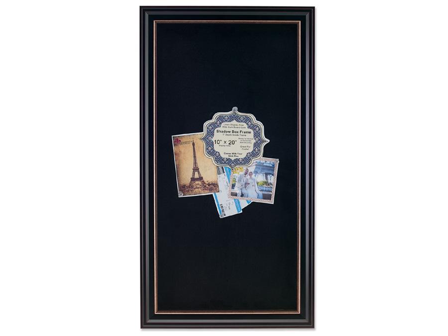 Lawrence 10x20 Black Shadow Box Frame w/Gold Trim