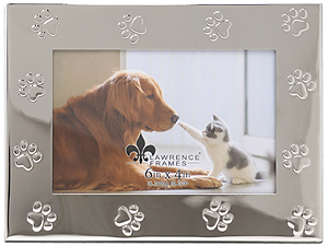 Lawrence 6x4 Silver Metal Paw Print Picture Frame