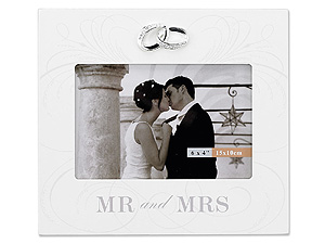 Lawrence 4x6 Silver Ring Crystal & Ivory Mr. & Mrs. Wedding Frame