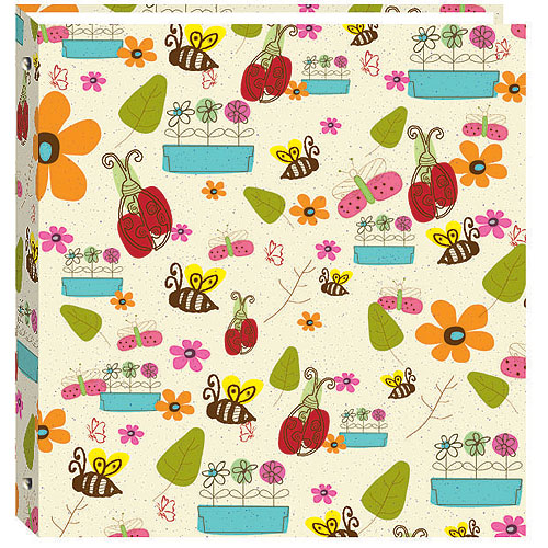 Magnetic Self-Stick 3-Ring Photo Album 100 Pages Berry Blossoms Design 50 Sheets