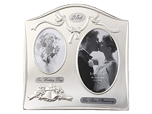 Lawrence Satin Silver 25th Anniversary Frame