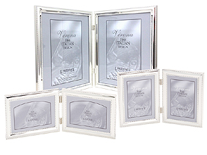Lawrence Beaded Silver Plated Double Picture Frames