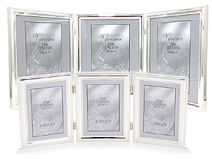 Lawrence Beaded Silver Plated Triple Picture Frames
