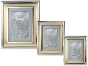 Lawrence Silver Plated Metal Picture Frames With Gold Panel