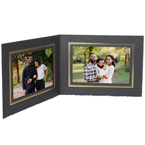 Double View Folder w/Foil Border 7x5 Horizontal (25 Pack)
