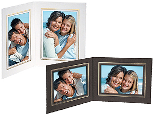Double View Cardboard Photo Folders w/Foil Border (25 Pack)
