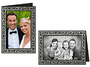 Black Holly Border 4x6 Photo Insert Greeting Cards (10 Pack)