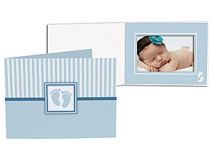 Blue Baby Footprint 5x7 Horizontal Photo Folders (25 Pack)