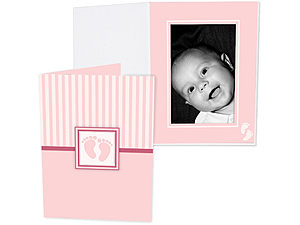 Pink Baby Footprint 5x7 Vertical Folders (25 Pack)