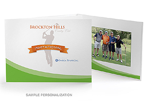 Green Swoosh Golf Photo Folders For Horizontal 4x6 (25 Pack)