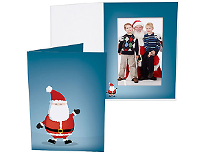 Jolly Santa Printed 4x6 Vertical Photo Folders (25 Pack)