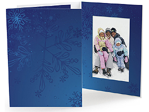 Blue Snowflakes Holiday Photo Folders 5x7 (25 Pack)