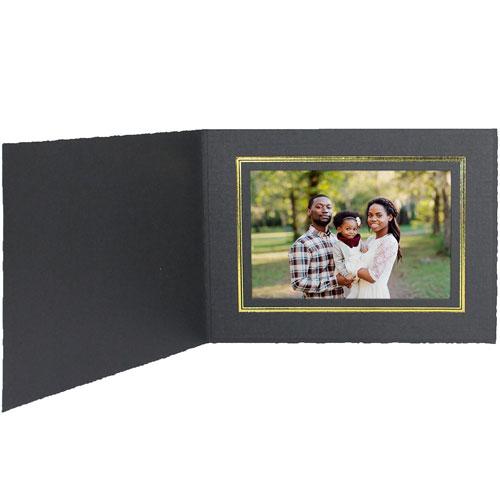 Cardboard Photo Folders w/Foil Border 7x5 Horiz (25 Pack)