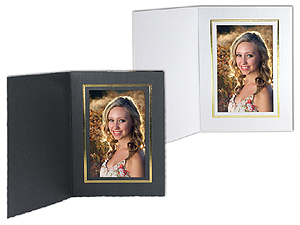 Cardboard Photo Folders w/Foil Border Vertical (25 Pack)