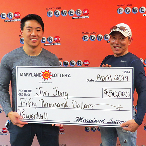 Maryland Lottery Powerball Winner Jin Jung and his son Brian