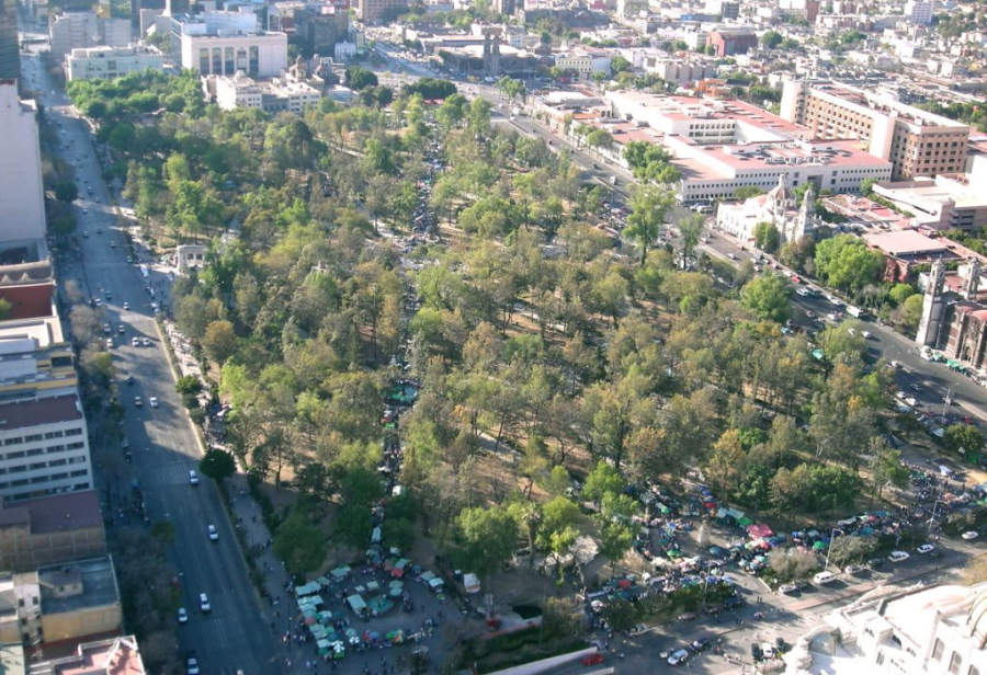 <p>Aerial view of the Alameda Central in Mexico City</p>