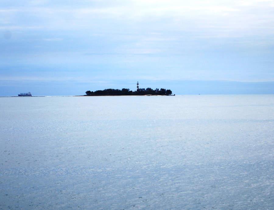 <p>Island of Sacrifices as seen from Veracruz</p>