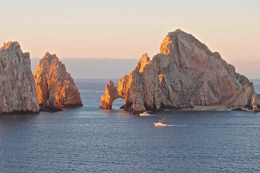 <p>View of the sunset at Lands' End Cabo San Lucas in Los Cabos Tourist Corridor</p>