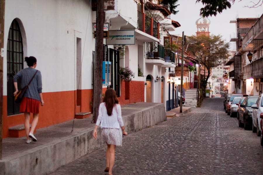 <p>Street in downtown Puerto Vallarta</p>