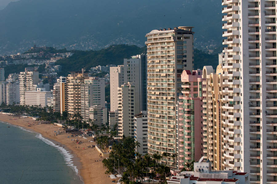 <p>Hotels and condos across Acapulco Bay</p>