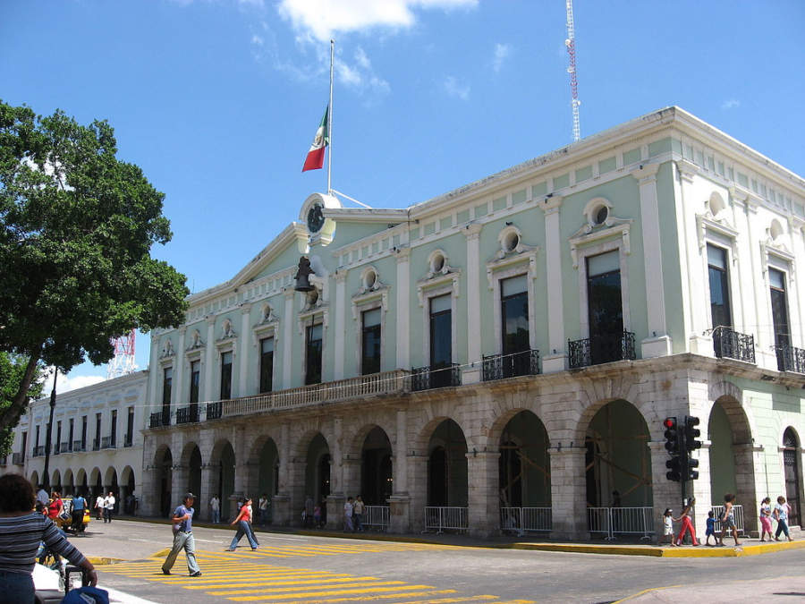 <p>Facade of the Government Palace in downtown Merida, Yucatan</p>