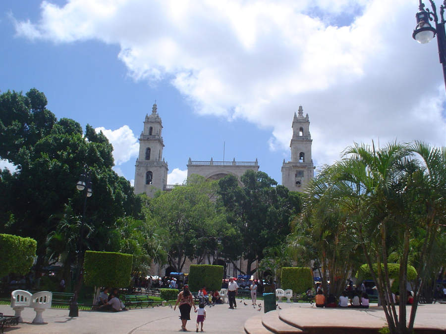 <p>Zocalo and Cathedral of Merida</p>