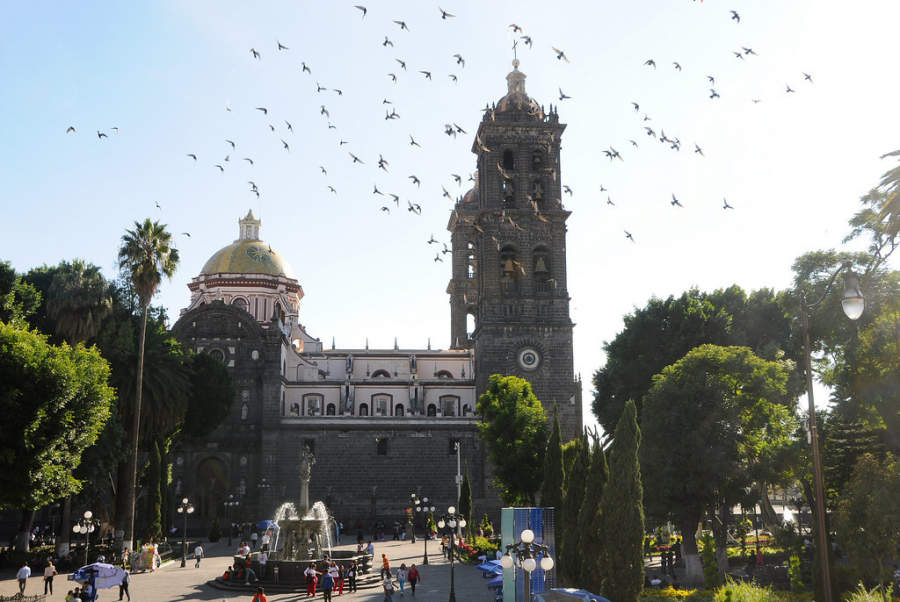 <p>Zocalo of Puebla and Cathedral of the city in the back</p>
