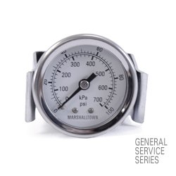 "Marsh General Service Panel Mount Gauge 1.5"", 300 PSI/KPa"