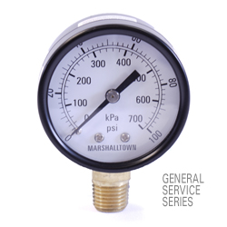 "Marsh General Service Pressure Gauge 2"", 1500 PSI/KPa"