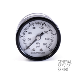 "Marsh General Service Pressure Gauge 1.5"", 100 PSI/KPa"